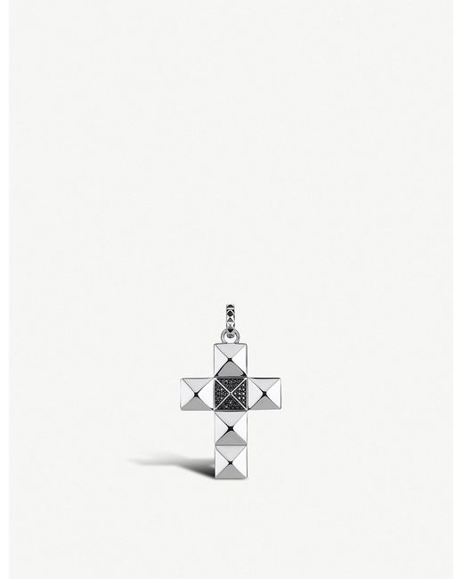 Thomas Sabo - Metallic Pyramid Studded Cross Sterling Silver And Zirconia Pendant - Lyst