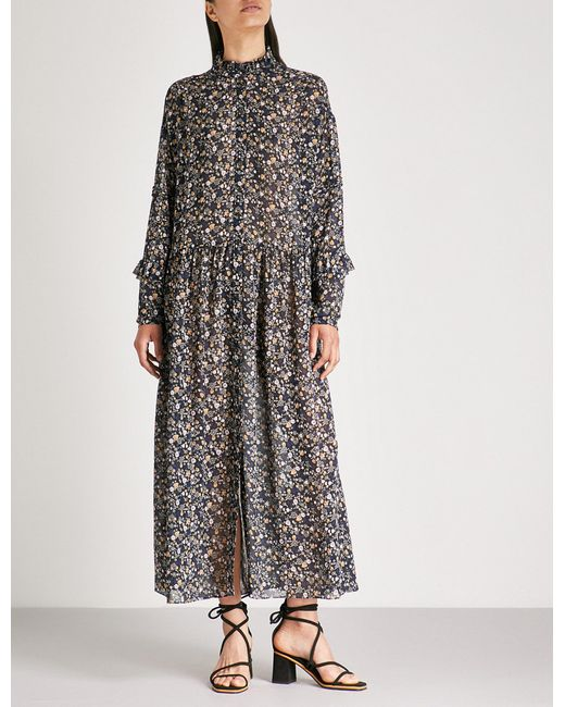 MiH Jeans - Multicolor Edith Floral-print Silk-chiffon Midi Dress - Lyst