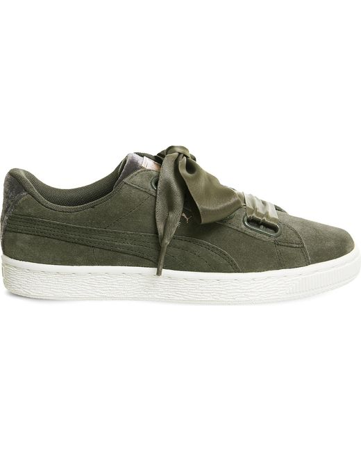 PUMA - Green Suede Heart Velvet Rope Trainers - Lyst