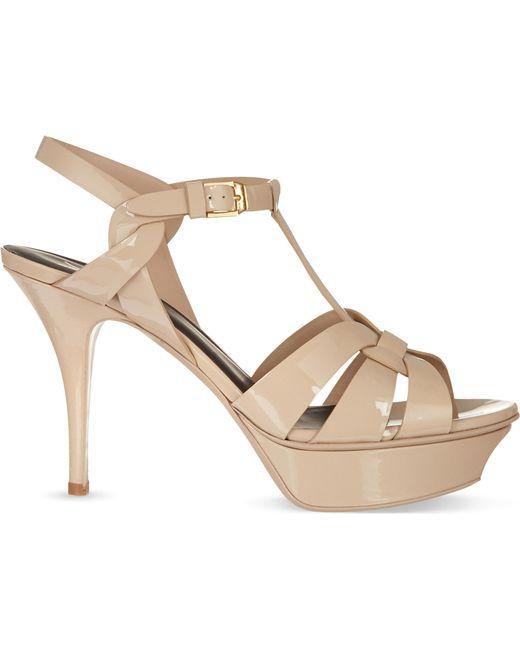 Saint Laurent - Natural Tribut Patent-Leather Heeled Sandals - Lyst