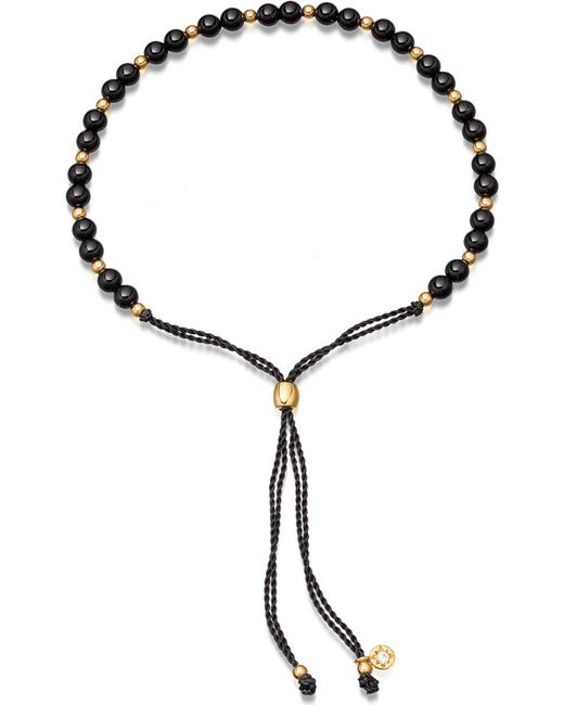 Astley Clarke - Metallic Biography 18ct Gold Vermeil And Black Onyx Beaded Bracelet - Lyst