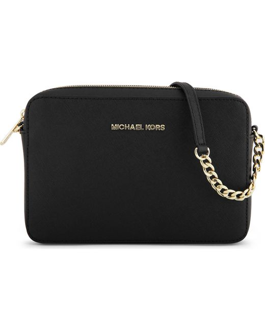 MICHAEL Michael Kors - Black Jet Set Saffiano Leather Cross-body Bag - Lyst