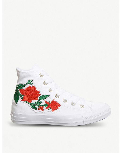 Converse - White All Star Embroidered High-top Trainers - Lyst