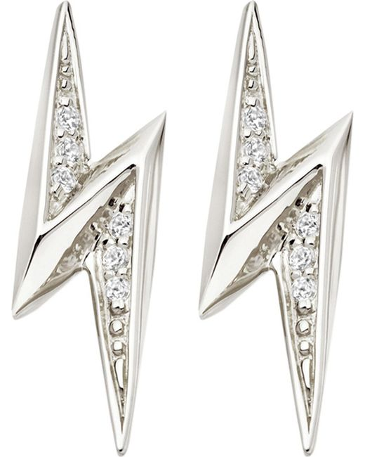 Astley Clarke - Metallic Lightning Bolt Sterling Silver And White Sapphire Stud Earrings - Lyst
