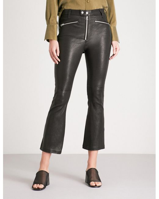 Rag & Bone - Black Braxton Slim-fit Flared Cropped Leather Trousers - Lyst