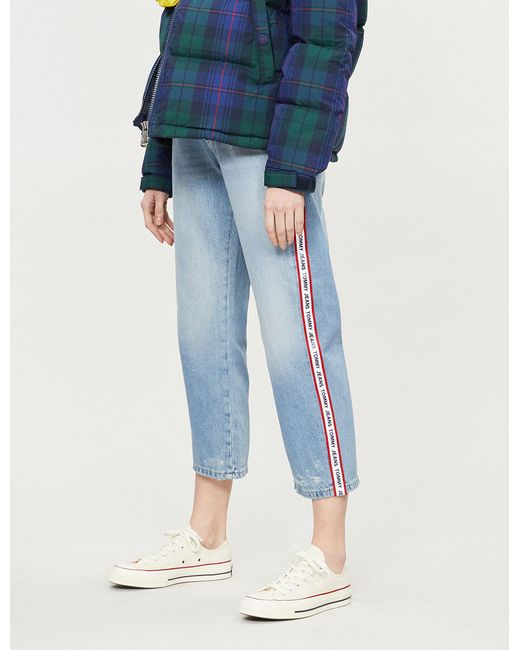 75f7d0eafb898 Lyst - Tommy Hilfiger Logo-striped Cropped Mid-rise Jeans in Blue