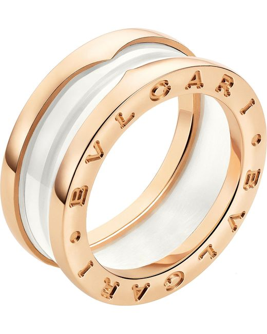 BVLGARI - B.zero1 Two-band 18kt Pink-gold And Ceramic Ring - Lyst