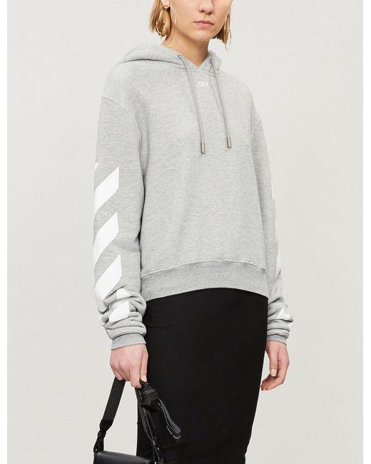 b9c0dea57f8c Lyst - Off-White c o Virgil Abloh Logo-print Cotton-blend Hoody in Gray