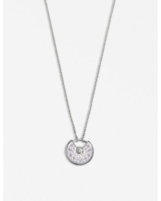 Cartier - Amulette De 18ct White-gold And Diamond Necklace - Lyst