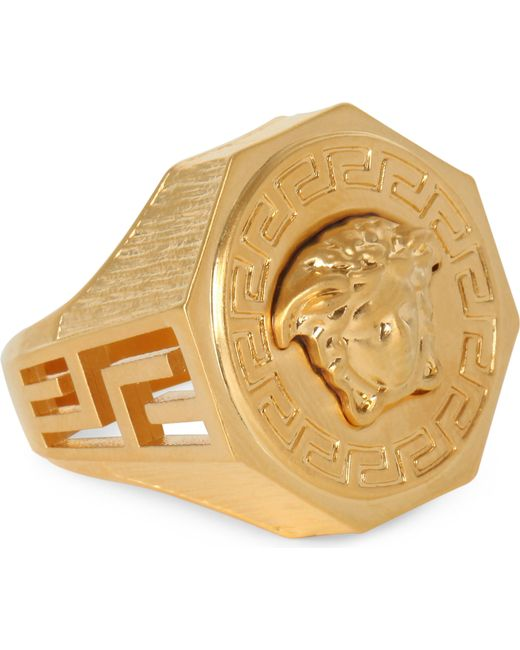 Versace - Metallic Medusa Greca Gold-plated Ring for Men - Lyst