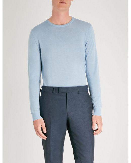 Tiger Of Sweden - Blue Fine-knit Merino Wool Jumper for Men - Lyst