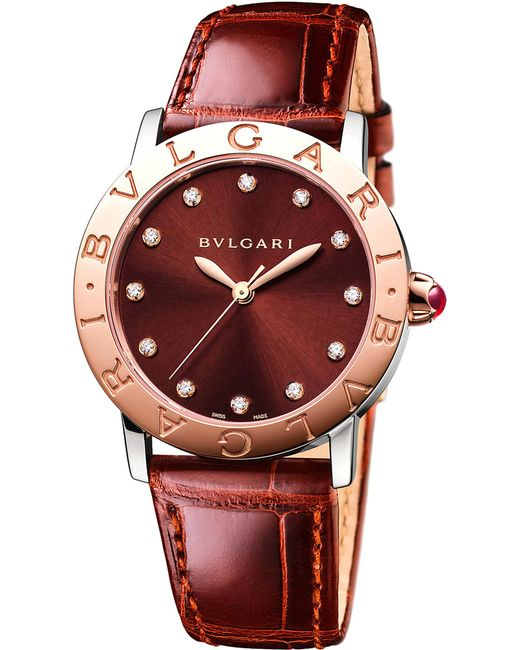 BVLGARI - Red Bulgari Bulgari Lady 18kt Pink-gold And Alligator Watch - Lyst