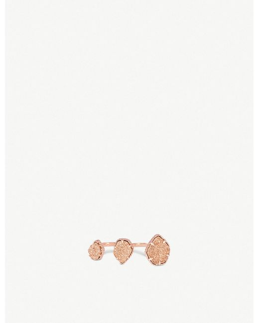 Kendra Scott - Multicolor Naomi Rose Gold-plated And Rose Gold Drusy Double Ring - Lyst