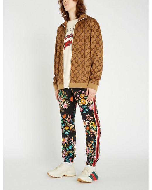 3f7f13953 Gucci - Multicolor Logo-intarsia Stretch-jersey Jacket for Men - Lyst