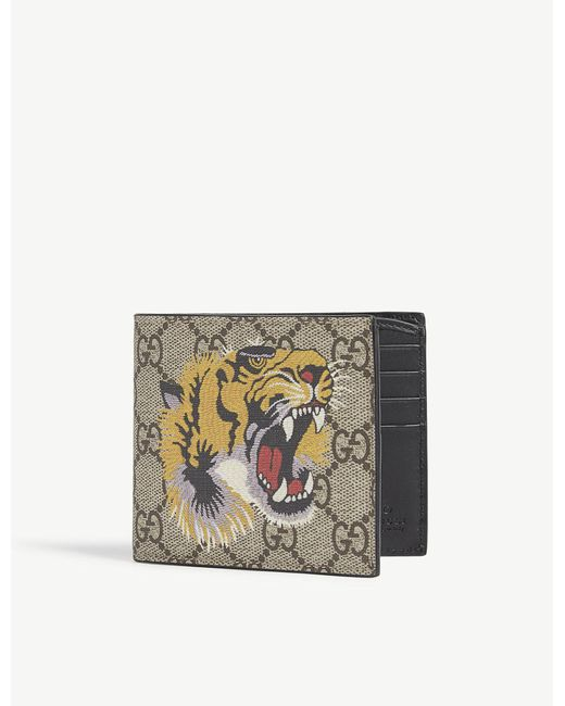 Gucci | Natural Supreme Bee Leather Billfold Wallet for Men | Lyst