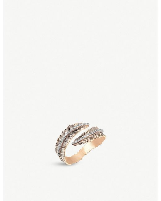 The Alkemistry - Metallic Kismet By Milka Feather 14ct Rose-gold And Diamond Ring - Lyst