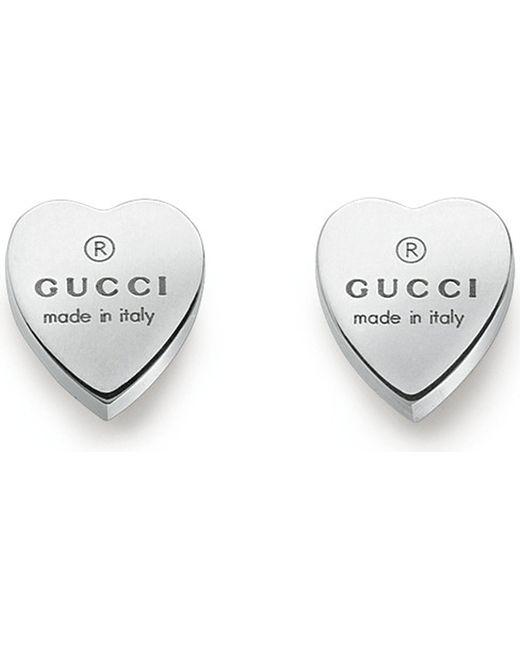 Gucci - Metallic Heart-motif Sterling Silver Stud Earrings - Lyst