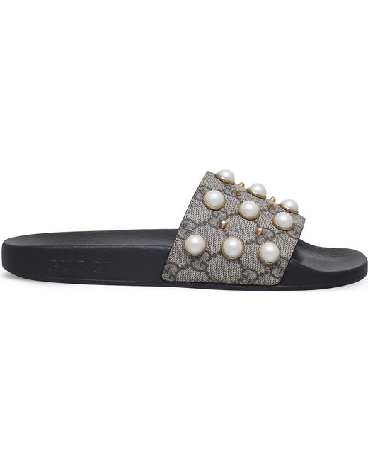 fa9f54938fa Gucci - Multicolor Pursuit Pearl-embellished Rubber Slider Sandals - Lyst