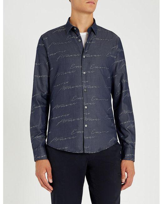 Emporio Armani - Blue Modern-fit Signature-print Cotton Shirt for Men - Lyst