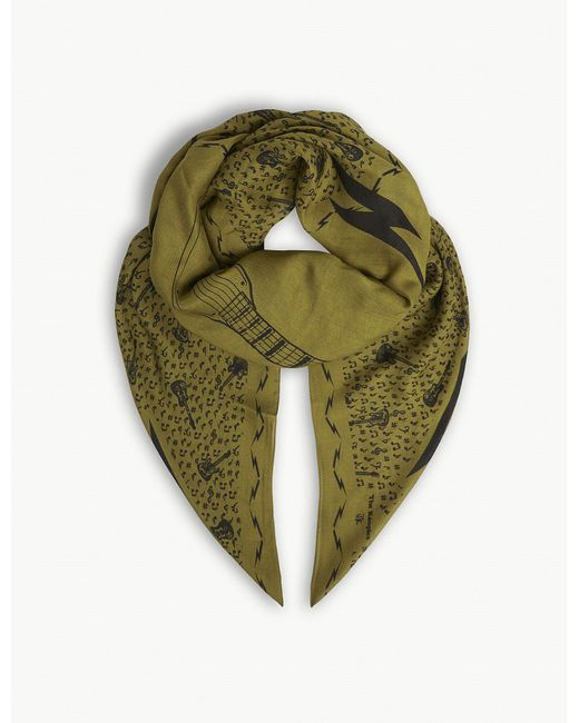 The Kooples - Green Music Motif Print Modal-wool Blend Scarf - Lyst