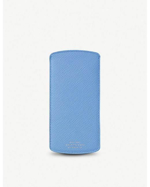 Smythson - Blue Panama Leather Glasses Case - Lyst