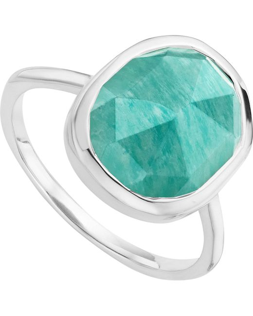 Monica Vinader - Metallic Siren Sterling Silver And Amazonite Medium Stacking Ring - Lyst