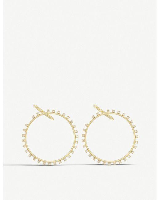 Kendra Scott - White Charlie Grace Antique Silver-plated Hoop Earrings - Lyst