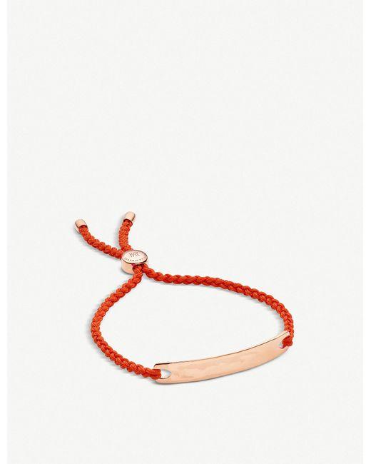 Monica Vinader - Red Linear 18ct Rose Gold-plated Friendship Bracelet - Lyst