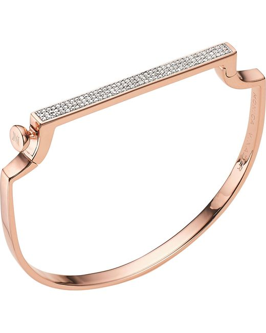 Rose Gold Signature Thin Diamond Bangle Diamond Monica Vinader 6bnDW