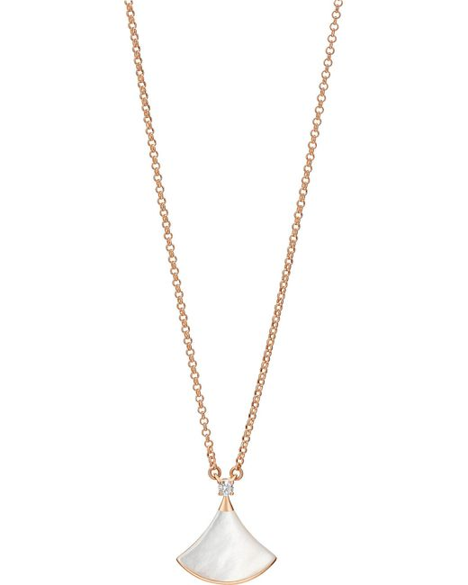 BVLGARI - Metallic Divas' Dream 18kt Pink-gold With Mother Of Pearl And Pavé Diamonds Necklace - Lyst