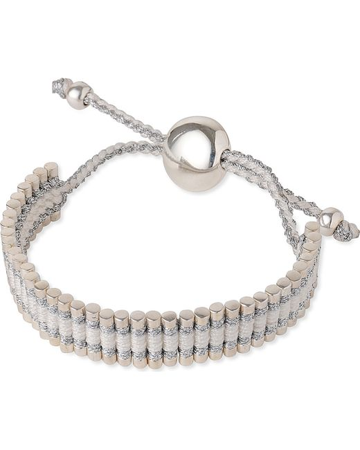 Links of London | Metallic Friendship Bracelet Pewter And White | Lyst