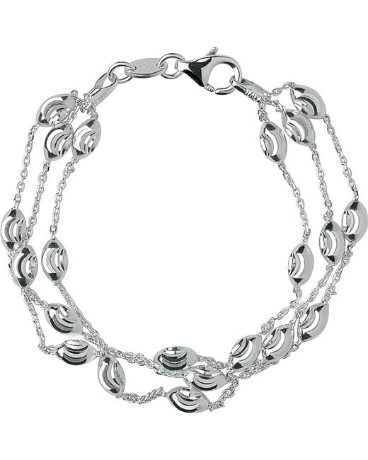 Links of London | Metallic Sterling Silver Beaded Three Row Bracelet | Lyst