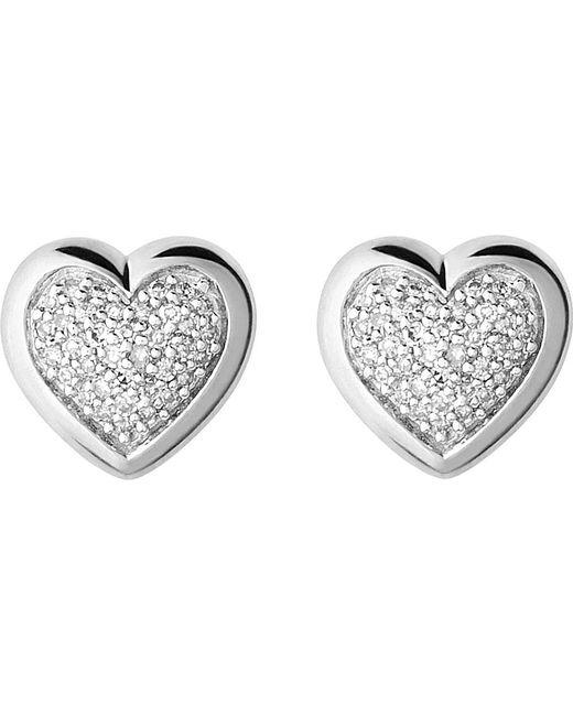 Links of London   Metallic Diamond Essentials Silver And Diamond Heart Stud Earrings   Lyst