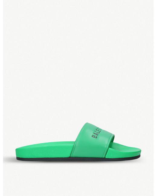 Balenciaga - Ladies Green Logo-print Leather Sliders - Lyst