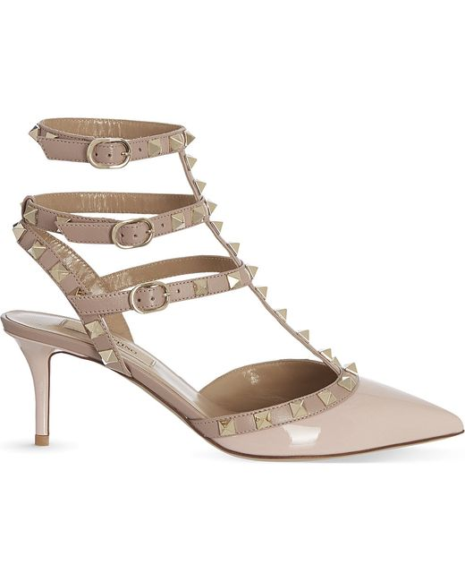 Valentino | Natural Rockstud Patent Leather Sandal | Lyst