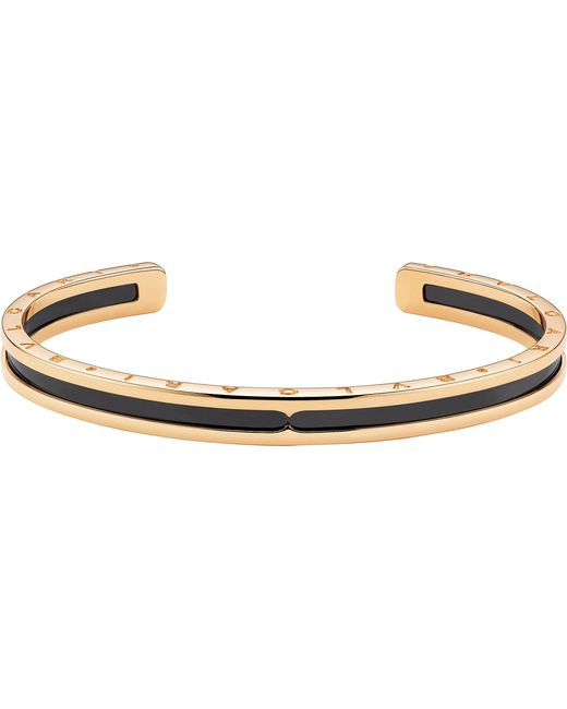 BVLGARI - Metallic B.zero1 18ct Pink-gold And Black Ceramic Bracelet Cuff - Lyst