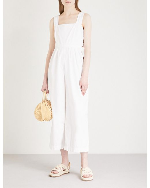 Free People - White Fara Button Up Cotton Jumpsuit - Lyst