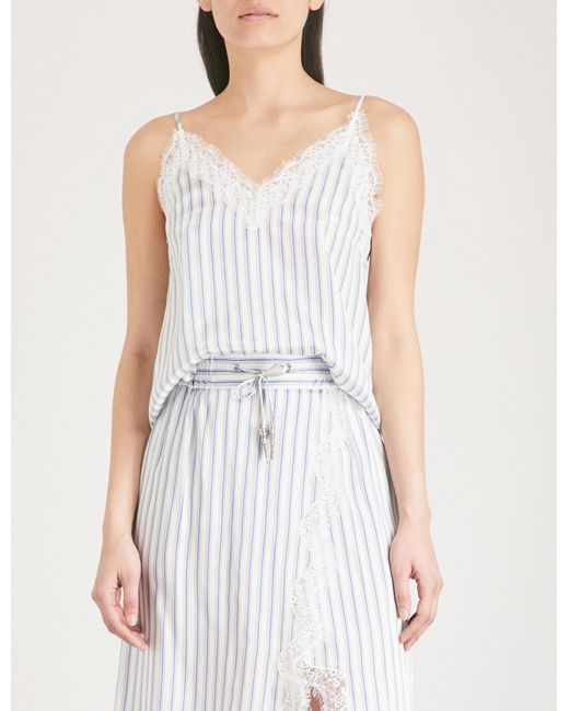 The Kooples - Blue Lace-trimmed Striped Satin Camisole - Lyst