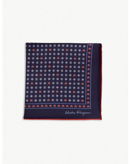 Ferragamo - Blue Car Print Silk Pocket Square for Men - Lyst