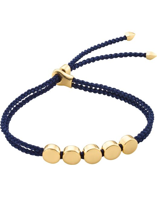 Monica Vinader | Blue Linear Bead 18ct Gold-plated Friendship Bracelet | Lyst