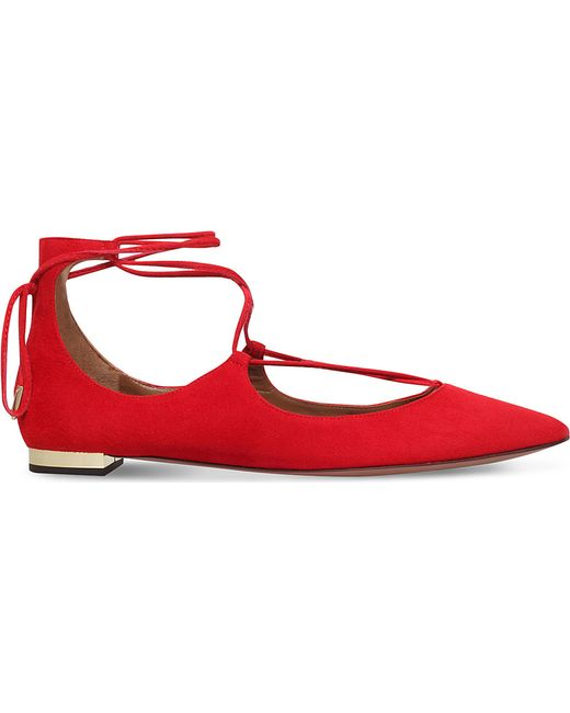 Aquazzura | Red Christy Suede Flats | Lyst