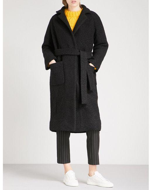 Ganni - Black Fenn Bouclé Wool-blend Wrap Coat - Lyst