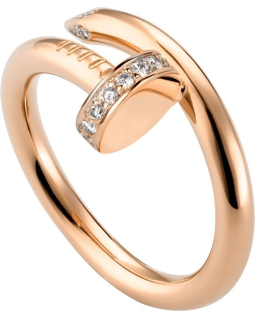 Cartier - Juste Un Clou 18ct Pink-gold And Diamond Ring - Lyst