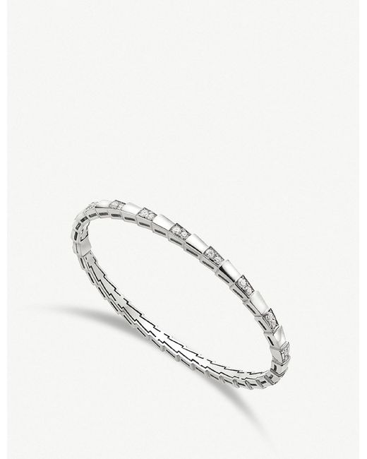 BVLGARI - Serpenti Viper 18kt White-gold And Diamond Bracelet - Lyst