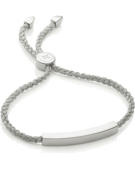 Monica Vinader - Green Linear Woven Silver Friendship Bracelet - Lyst