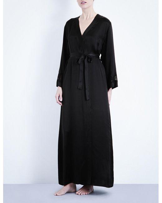 Nk Imode - Black Long Silk-satin Robe - Lyst
