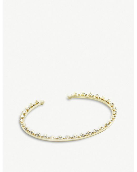 Kendra Scott - White Codi 14ct Gold-plated And Cubic Zirconia Bracelet - Lyst
