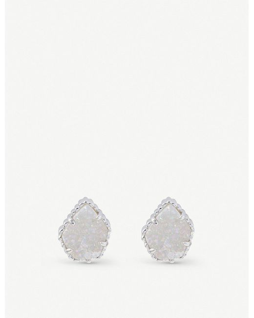 Kendra Scott - White Tessa Rhodium-plated And Iridescent Drusy Earrings - Lyst