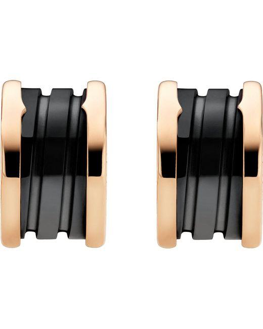 BVLGARI - B.zero1 18kt Pink-gold Earrings With Black Ceramic - Lyst