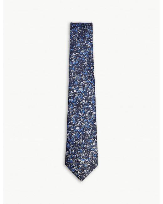 Lanvin - Blue Painted Petal Silk Tie for Men - Lyst
